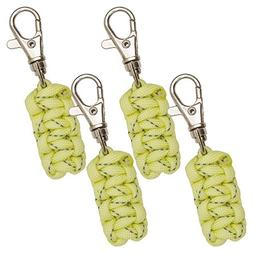 Paracord Zipper Pulls 4 Pack - Glow in the Dark Yellow | Met