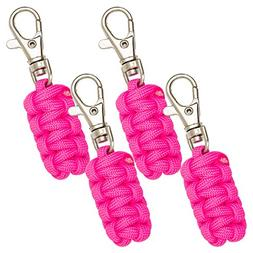 Paracord Zipper Pulls 4 Pack - Pink | Metal Hook Thin Enough