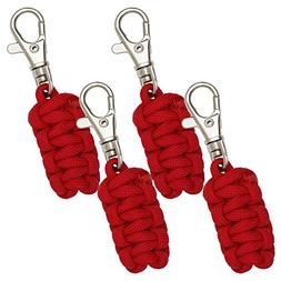 Paracord Zipper Pulls 4 Pack - Red | Metal Hook Thin Enough
