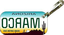 Personalized Arizona Cactus Zipper Pull State License Plate