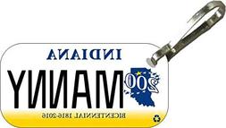 Personalized Indiana 2013 Zipper Pull State License Plate Re