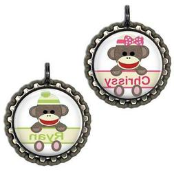 Personalized Sock Monkey Bottle Cap Bag Tag Kids Backpack Zi