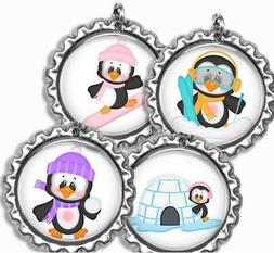 Playful Penguins Bottle Cap Bag Tag Luggage Id Kids Backpack