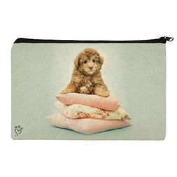 Poodle Puppy Dog on Pillows Makeup Cosmetic Bag Organizer Po