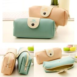 PU Leather Pencil Pen Case Cosmetic Makeup Coin Pouch Zipper