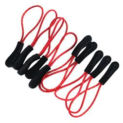 MagiDeal 10Pcs Reflective Nylon Zip Extension Cord with Rubb