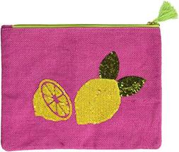 Mud Pie 8613346P Sequin Dazzle Carry All Cosmetic Bag, Lemon
