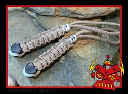 Set of 2 Coyote Tan Paracord Lanyards with Glow Ends Skull B
