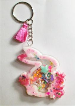 SHAKER KEYCHAIN CHARM- BUNNY -ZIPPER PURSE PULL- BACKPACK-TO