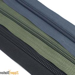 Size 8 Nylon Continuous Zipper, Standard, twin pulls or lock
