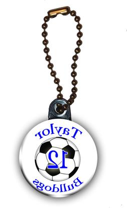 Soccer Zipper Pull//Bag Tag Personalized with Name Number Team 1.5 Inch Charm