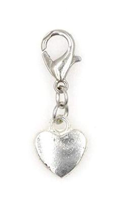 Small Solid Heart Clip on Charm Perfect for Necklaces and Br