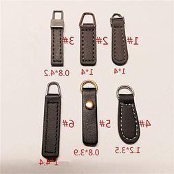 WellieSTR Set Of 6 Stly Luxurious PU Leather Zipper Pull Tab