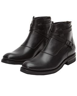 FRYE Men's Stone Cross Strap Black Smooth Pull-Up Boot 10 D