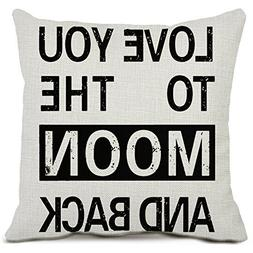 Sweet Home Cotton Linen Throw Pillow Cases I Love You to The