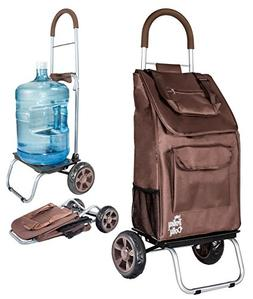 dbest products Trolley Dolly, Brown Shopping Grocery Foldabl