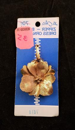 Vintage Le Chic Gold-Tone Flower Zipper-Belt-Dress Ornament,
