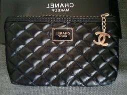 Chanel Makeup VIP Quilted Black Cosmetic Bag with CC Charm Z