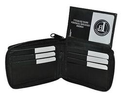 WALLET MENS ZIPPER SAFE PULL UP FLAP LEATHER BLACK NEW GIFT