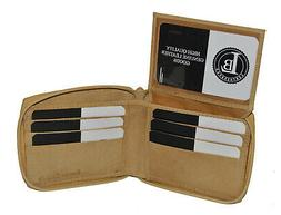 WALLET MENS ZIPPER TAN SAFE PULL UP FLAP LEATHER  NEW GREAT