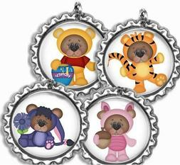 Whimsical Bears Bottle Cap Bag Tag Luggage Id Kids Backpack