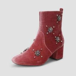 Who What Wear Boots Women's PINK ALESSIA Embellished Velve