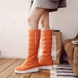 Winter Boots Women Zipper Knee High Boots Quilted Hidden Hee