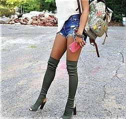 Women's Over The Knee Thigh High Boots Open Toe Lycra Pull O