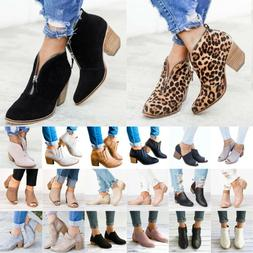 Womens Ladies Zipper Shoes Chunky Ankle Booties Pointed Toe