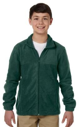 Harriton Youth Full-Zipper Polyester Fleece Pullover, HUNTER