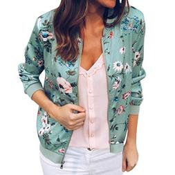 Todaies Women Zipper Coat Blouse, Womens Retro Outwear Flora