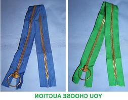 ZIPPER Heavy Duty Large BLUE OR GREEN BRASS RING PULL ZIPPER