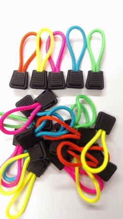 zipper pull cords neon pink yellow green