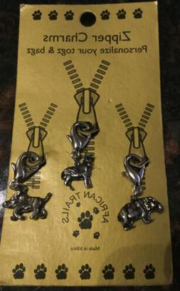 Zipper Pulls Charms African Trails Made in Africa Rhino, Yak